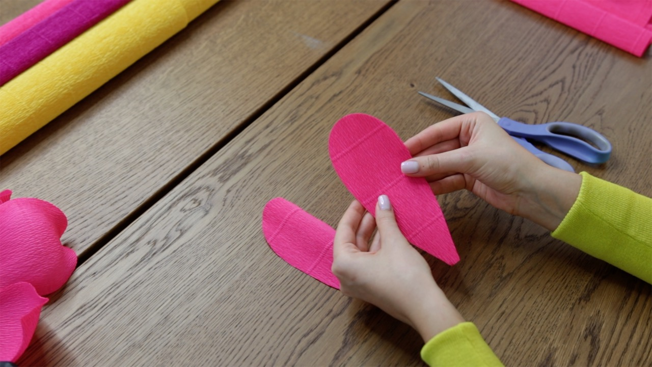 Crepe paper peony petals