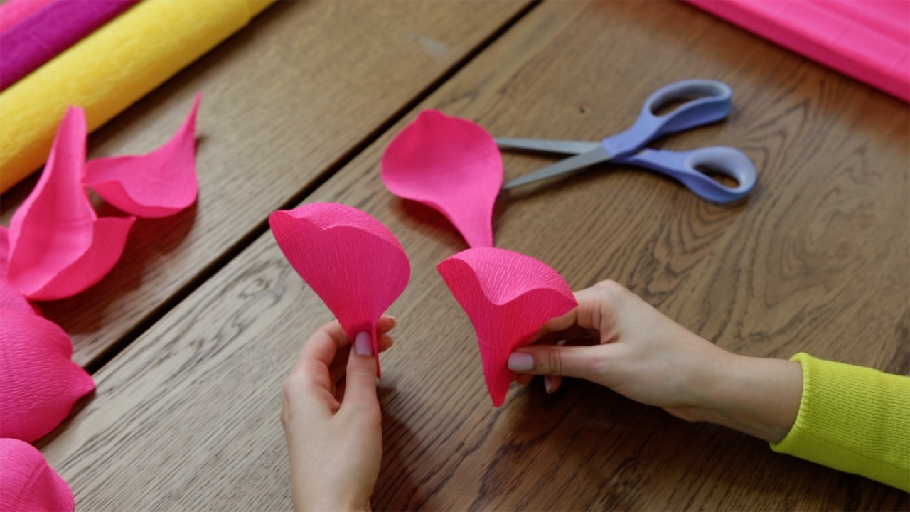 Crepe paper petals for giant peony
